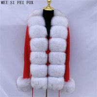 Women's knitted cardigan sweater real fur coat collar fox jacket natural s vest Q0827