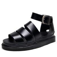 여름 플랫폼 여성을위한 검은 샌들 Roma Ankle 스트랩 오픈 발가락 패션 샌들 신발 상자 큰 크기 35-41