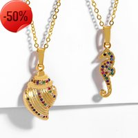 love ring New Ocean Seahorse Shell Necklace Creative Color Pendant Gold Necklace Nkp40