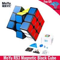 Moyu RS3M أسود ماجيك مكعب 3x3 ألعاب تعليمية للأطفال 3x3x3 مكعبات الفصول الدراسية RS3 م المغناطيس سرعة المكعب
