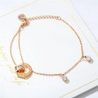 Di-350 einfache doppelschicht diamant armband titanium stahl plattiert rose gold runde ring ineinandergreifender kreis schlank o-kette schmuck 103 w2