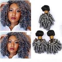 Black to Silver Grey Ombre Vierge Indian Vierge Human Hair Weave EXTENDUES DE CHARGE DE FUNMIS AUTY FUNMIS TISSEURS # 1B GREY OMBRE BOULLES BOULLES DE CHEVEUX HUMUMES HUMÉRAL