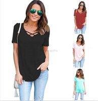 Frauen T-Shirts 10 stücke Plain-farbe Sommer Straped Casual Hemden Kurzärmeliger V-Ausschnitt T-Shirt M183
