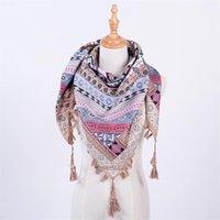 Sciarpe accessori abbigliamento da donna inverno collo caldo proteggere vintage bohemien stile etnico stile quadrato belle signore scialli nappa