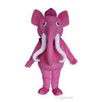 Fabriksförsäljning Rosa Elephant Character Mascot Kostym Outfits Vuxen Storlek Tecknad djur för Carnival Festival