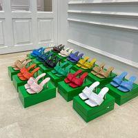 Klassische Frauen High Heels Lido Sandalen Hausschuhe Damen Mi Dias Square Maultier Sommer Slipper Gewebtes Leder Sexy Party 9cm Sandale Schuhe