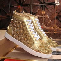 Fashion New Red Bottoms Shoes Studed Spikes Sneakers Flat Designer Sneakers per gli uomini Donne in pelle scamosciata in pelle scamosciata in pelle scamosciata in pelle scamosciata da uomo