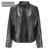 Women's Leather & Faux Maxulla Jackets Lady Girl's Zipper Basic Biker Coats Women Turn-down Collar Motor Clothing