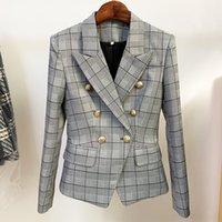 2021 Spring Summer Coat Chetw Chaqueta de manga larga Cuello de solapa Marca a cuadros Mismo estilo Ropa de mujer Botón de moda Tallas grandes Oulaidi