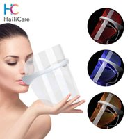 Rechargeable 3 Colors LED Photon Light Therapy Facial Mask Skin Tighten Photonic Lighten Melanin Whitening Anti-Aging Skin Care Q0604
