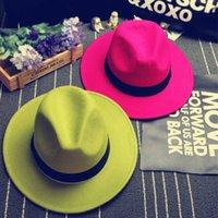 Zarif Katı Fedora Şapka Band Keçe Yassı Brim Caz Şapka Panama Caps Yeni Moda Retro Keçe Caz Şapka Erkekler Kadınlar Için Üst Şapka