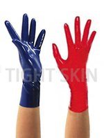 Latex Gloves Fetish Mitten Seamless Style Unisex 100% Natural Rubber Short Glove Free Size Y0910