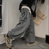 Womens Capri Side Cargo Pocket Streetwear mujer hombre Hip Hop Flow Harem Jogger Peach Pantalón Baggy Sweetpant Punk ancho de gran tamaño