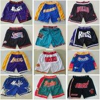 TakımNbaBasketbol kısaDonSpor Şort Cep Pop Pantolon Cep Fermuar Sweatpants ile Mavi Beyaz Siyah Kırmızı Pembe Erkek Dikiş