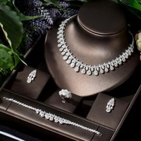Earrings & Necklace HIBRIDE Luxury Women Jewelry Water Drop Bridal CZ Bracelet Ring 4pcs Big Wedding Sets For Bride N-692