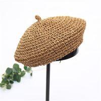 Wide Brim Hats 2021 Handmade Women Berets French Female Straw Designer Girl Flat Cap Knit Black Beret Gifts For Woman Summer #L5