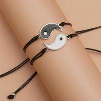 Charm Bracelets Yin Yang Bracelet Set For Couples Friendship Beads Unisex Adjustable Rope Chain On Hand Statement Handmade Jewelry