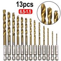 Broca profissional 13 pcs / lote HSS de alta velocidade de aço revestido titânio conjunto 1/4 hex shank 1.5-6.5mm use para perfuração de metal e madeira