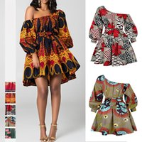 Sexy Slanted Shoulder Elastic Dress Summer African Print Ankara Dashiki Women Dresses Boho Holiday Party Wear