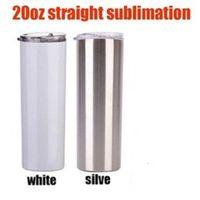 3 стиль 20 унций сублимации прямой тонкий тумблер серебристый белый чашка с металлическими соломенными вакуумными путешествиями кружка подарки морской путь DWA5249