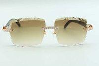2021 أحدث نمط القطع عدسة لا نهاية لها الماس النظارات الشمسية 3524020، الطبيعية السوداء الجاموس قرون المعابد نظارات، الحجم: 58-18-140mm