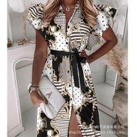 Casual Dresses Mandylandy Shirt Dress Flying Sleeves High Waist Pattern Printed Ruffled Tied Loose Summer Long