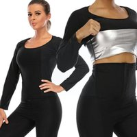 Women's Shapers Body Shaper Suits Sweat Slimming Pants Waist Trainer Long Tops Workout Panty Shirt Sets Leggings Control Shapewear Sleeve D1