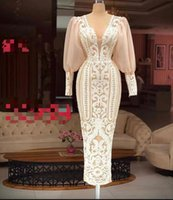 2021 Plus Size Arabic Aso Ebi Lace Sexy Vintage Prom Dresses Deep V-neck Long Sleeves Ankle Length Evening Formal Party Second Reception Gowns ZJ574