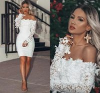2021 White Lace Short Prom Dresses Sheath Mini Length Off The Shoulder Long Sleeves Bridal Gowns 3D Applique Sexy Outdoor Reception Dress