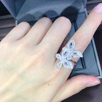 Zwei Schmetterlinge Zirkon Diamanten Ringe für Frauen Weißgold Farbe Hochzeit Verlobungsband Cocktail Party Schmuck Shiny Geschenke Cluster 1002 Q2
