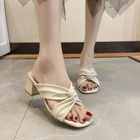 Plataforma de mujeres zapatillas 2021 verano al aire libre al aire libre de punta abierta elegante sandalias sólidas moda mujer mulas zapatos hembra verano alto tacones jsdv7yry