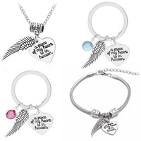 Fashion Jewelry Sets Wing Heart Bracelet & Necklace Key Rings For Women Men Silver Plated Lettering Rhinestone Couples Keychain Gift