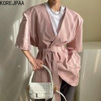 Korejpaa Femmes Veste 2021 Été Coréen Chic Tempéramment Minimaliste Col V-Col V one-Bouton à manches courtes à manches courtes Blazers SUI Femmes Sui