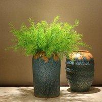 Kunstmatige plastic groene dennen naald planten nep asperges gras tuin thuis bruiloft decoratie decoratieve bloemen krans