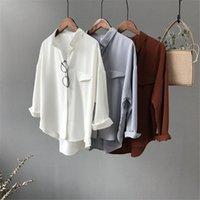 Высококачественные повседневные шифоновые белые женские блузки рубашка негабаритные три четверти рукава свободные офисные одежды казуапы чашки Blusas женские блузки SH