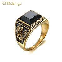 CFBulongs Vintage Siyah Altın Zirkon erkek Yüzük Mason Masonik Paslanmaz Çelik AG Logosu Punk Takı Küme Yüzükler