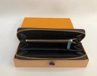 Bolsa bolsa carteiras de couro venda moda homens e saco feminino de alta qualidade único zíper longo carteira sacos de embreagem bolsas com caixa