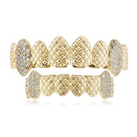 Hip Hop Iced Out CZ Grillz Top & Bottom Grill Set Jewelry Men Women Grills Fashion Jewelry For Gift