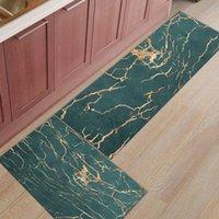 Green Marble Lines Golden Crack Texture Long Kitchen Mat Home Entrance Doormat Anti-slip Bathroom Rug Floor Decoration Carpets