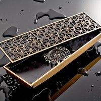 80 * 300 mm Golv Avlopp Brass Rektangulär Antik Retro Stor Badrum Toalett Deodorant Med Förskjutning