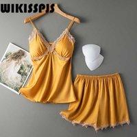 Wikisspjs verano sexy hielo seda sujetador pantalones suspensión pantalones de dos piezas ropa de hogar pijamas para mujer salón desgaste salón traje Q0706