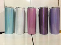 20oz Stainless Steel Wine Tumblers With Lid Straw Double Wall Vacuum Insulated Drink Cup Rainbow Straight Cup Sparkle Skinny Tumbler