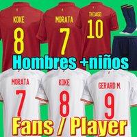 Fãs Player Versão 20 21 ESPANHA camisa de futebol RODRIGO MORATA RAMOS THIAGO INIESTA TORRES KOKE camisa de futebol top camisetas de futebol masculino e infantil conjuntos