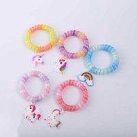 새로운 패션 여러 가지 빛깔의 전화 라인 유니콘 플라스틱 팔찌 PVC 매력 팔찌 홈 파티 쥬얼리 다른 스타일 장식