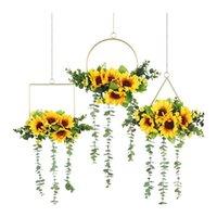 Fiori decorativi GATHONHS-Cerzonatura floreale del teatro floreale del metallo di girasole artificiale Set di 3, muro Ghirlanda appeso per la parete Decorazioni di nozze
