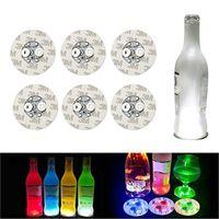 2021 6 cm Glow LED-Untersetzer Licht 4 LEDs 3M Aufkleber Flasche Licht Blinkende LED Lichter Für Weihnachten Weihnachten Nachtclub Bar Party Vase Dekoration