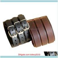 Charm Bracelets Jewelryjewelry Punk Rock 2 Layer Belt Men Genuine Cow Leather Bracelet 3 Buckle Wristband Cuff Bangle 08Jr Drop Delivery 202