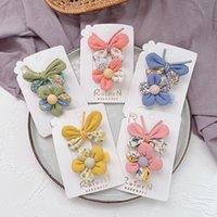 2 шт. Простые маленькие свежие детские цветочные ткани бабочки шпильки сладкие девушки мода цветок утка клип аксессуары для волос