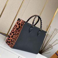 여성 Luxurys 디자이너 가방 2021 패션 블랙 레오파드 Onthego 대용량 어깨 가방 배낭 M45595 크기 : 35-28-15cm