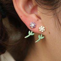 Stud 2021 Fashion Flower Earrings Cute Jewelry For Women Girls Lovely Delicate Rainbow Cz Earring